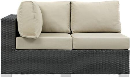 "Modway Sojourn EEI1858CHC 56.5"" Outdoor Patio Sunbrella Left Arm Facing Loveseat with Fabric Cushions, Polished 201 Stainless Steel Legs and Powder Coated Aluminum Tube Frame in"