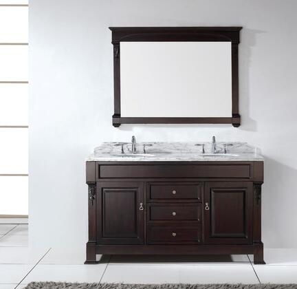 "Virtu USA GD-4060 Virtu USA 60"" Huntshire Double Sinks Bathroom Vanity in Dark Walnut with Italian Carrara White Marble"