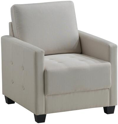 Glory Furniture G775C Fabric Armchair in Ivory