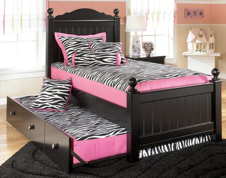 Signature Design by Ashley B150-TRUNDLEBED Jaidyn Collection Size Poster Bed with Trundle: Black