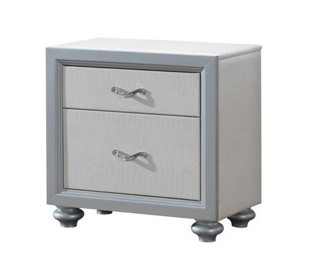"Glory Furniture 28"" Nightstand with 2 Drawers, Metal Hardware, Painted Wood Feet and Textured Finish"