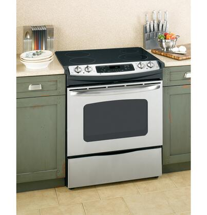 GE JSP42SNSS CleanDesign Series Slide-in Electric Range with Smoothtop Cooktop Storage 4.4 cu. ft. Primary Oven Capacity