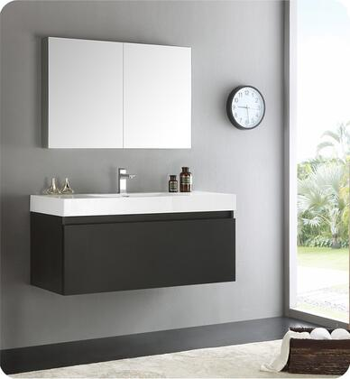 "Fresca Mezzo Collection FVN8011 48"" Wall Hung Modern Bathroom Vanity with Medicine Cabinet, Blum TANDEM Plus BLUMOTION Drawer System and Integrated Acrylic Countertop & Sink in"