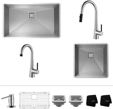 """Kraus KHU3219272000 Pax Series 32"""" and 19"""" Single Bowl Kitchen Sink with Stainless Steel Construction, Pull-Down Faucet, and Bar Faucet"""