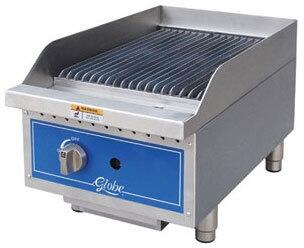 Globe GCB Gas Countertop Radiant Heat Charbroiler with up to 40,000 BTUs, U-Style Burners, and Liquid Propane Conversion Kit in Stainless Steel