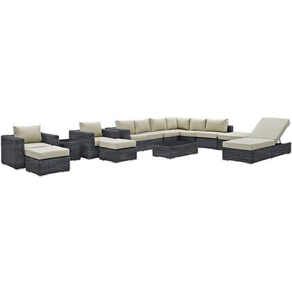 Modway EEI1898GRYBEISET Modern Rectangular Shape Patio Sets