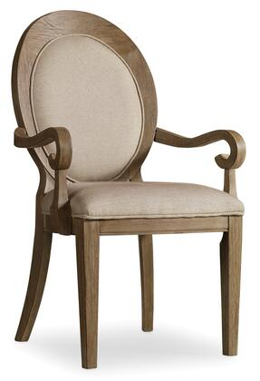 "Hooker Furniture Corsica Series 5180-754 41"" Traditional-Style Dining Room Oval Back Chair with Tapered Legs, Piped Stitching and Fabric Upholstery in Beige"