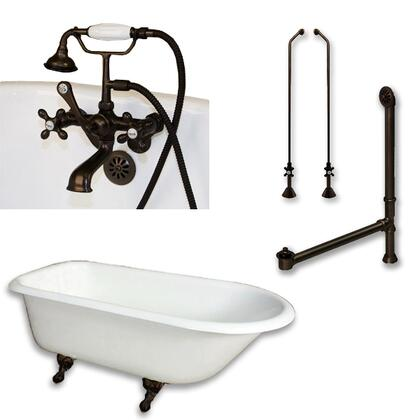 "Cambridge RR61463BTWPKG Cast Iron Rolled Rim Clawfoot Tub 61"" x 30"" with 3 3/8"" Bathtub Wall Faucet Drillings and British Telephone Style Faucet Complete Plumbing Package"