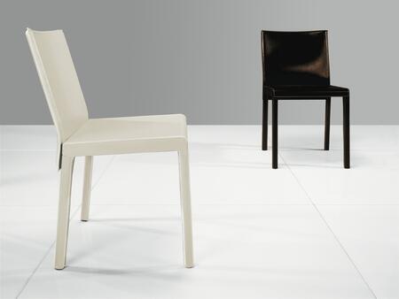 Modloft CDS097C2 Fleet Series Modern Leather Wood Frame Dining Room Chair