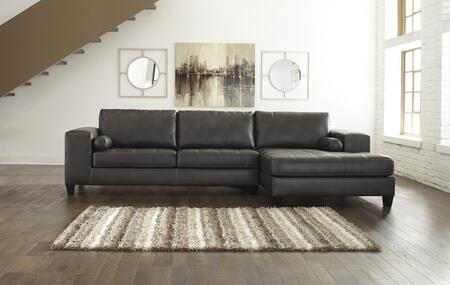 "Signature Design by Ashley Nokomis Collection 87701 134"" Sectional Sofa with Arm Facing Corner Chaise and Arm Facing Queen Sofa Sleeper in Charcoal"