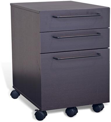"""Unique Furniture 200 Collection 21"""" Filing Cabinet with 3 Anti Tilt Drawers, Vacuumed Sealed MDF, No Scratch Surface, Casters and Medium-Density Fiberboard (MDF) in"""