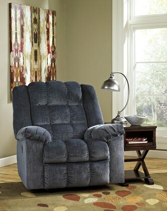 "Flash Furniture Signature Design by Ashley Ludden 40"" Power Rocker Recliner with Bustle Back Cushions, Push Button Recline, Infinite Reclining Positions and Twill Upholstery in"