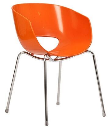 ITALMODERN L3468ORG Orbit Series Modern Not Upholstered Metal and Plastic Frame Dining Room Chair