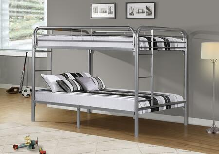 Monarch I223 Bunk Bed with Silver Metal Construction, Built-In Ladders and Full Length Guard Rails