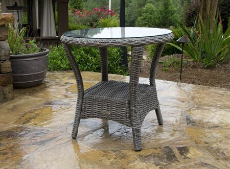 Tortuga BAY-SIDE Bayview Side Table with Aluminum Frame, Tempered Glass Top and All-Weather Resin Wicker in