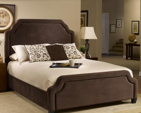Hillsdale Furniture 1554BRC Carlyle Panel Bed Set with Nail Head Trim, Rails, Pine Wood Construction, Scalloped Edges and Fabric Upholstery in Chocolate Color