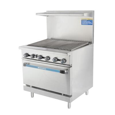 """Turbo Air TAR36R 36"""" Range with Heavy Gauge Welded Frame, 36"""" Radiant Broiler, Stainless Steel Construction, 1 Standard Oven, Full Size Crumb Tray and Adjustable Oven Thermostat:"""