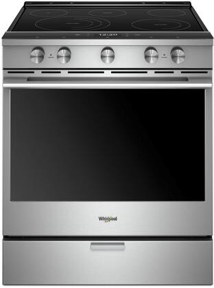 """Whirlpool WEEA25H0H 30"""" Smart Slide-In Range with 5 Elements, 6.4 cu. ft. Oven Capacity, Frozen Bake Technology, True Convection Cooking, Remote Start, AquaLift Self-Cleaning Technology, in"""