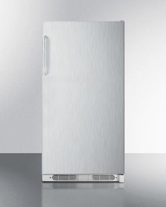 """Summit R17FFSSTX 34"""" Freestanding or Built In All Refrigerator with 16.5"""" cu. ft. Capacity, X Hinge Side, Door Storage and Interior Light, in Stainless Steel"""