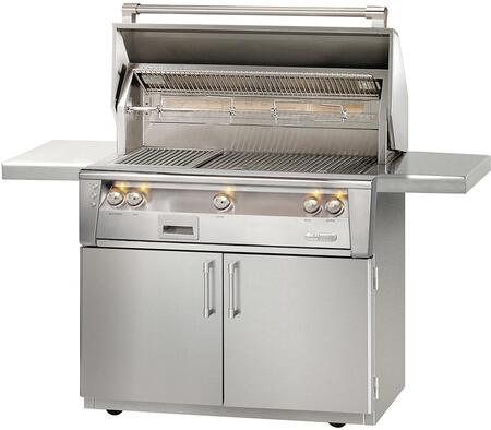 """Alfresco ALXE-36SZC-LP 36"""" Liquid Propane Sear Zone Grill on Cart with Rotisserie and Built-In Motor in Stainless Steel"""