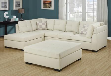 Monarch I8330IV  Sofa and Chaise Bonded Leather Sofa
