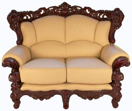 J. Horn 2189IVORYL 2189 Series Leather Stationary with Wood Frame Loveseat