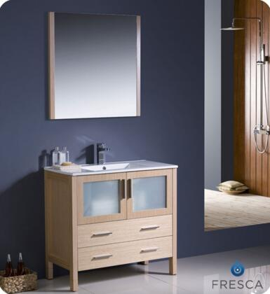 "Fresca Torino Collection FVN6236XX-UNS 36"" Modern Bathroom Vanity with Integrated Sink, Mirror and 2 Frosted Glass Panel Soft Closing Doors in"
