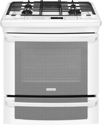 """Electrolux EI30GS55LW 30"""" IQ-Touch Series Slide-in Gas Range with Sealed Burner Cooktop Warming 4.2 cu. ft. Primary Oven Capacity 