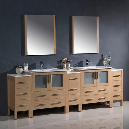 "Fresca Torino Collection FVN62-96XX-UNS 96"" Modern Double Sink Bathroom Vanity with 3 Side Cabinets, 2 Integrated Sinks and 13 Soft Closing Drawers in"