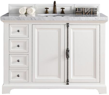 "James Martin Providence Collection 238-105-V48-CWH- 48"" Cottage White Single Vanity with Plantation Style Hardware, Two Soft Close Doors, Three Soft Close Drawers and"