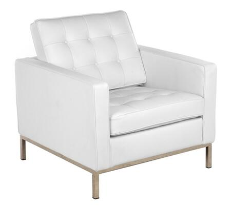 Fine Mod Imports FMI2201WHITE Button Series White Leather Armchair with Stainless Steel Frame
