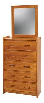 Chelsea Home Furniture 360025-01 5 Drawer Chest with Mirror, Pine Construction, Rustic Style, and Stain Finished