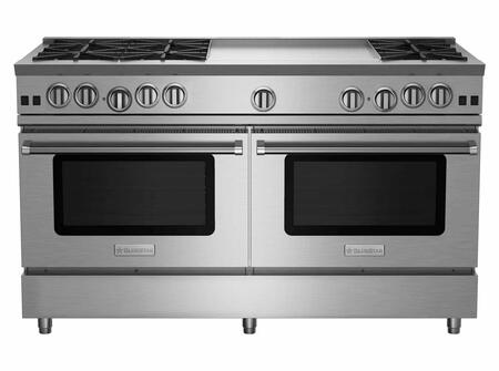 "BlueStar RNB606GV RNB Series 60"" Freestanding Gas Range with 6 Cast Iron Open Burners, 4.5 Cu. Ft. Convection Oven, 24"" Griddle, Simmer Burner, Full Motion Grates and Stainless Steel Drip Trays"