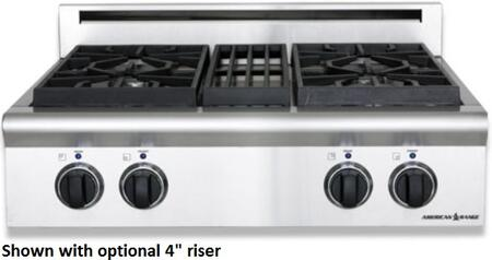 "American Range ARSCT-304 30"" Legend Series Slide-in Gas Rangetop with 4 Burners, 3 Size Burners, Automatic Electronic Ignition, Analog Controls and Commercial Grade Cast Iron Grates in Stainless Steel:"