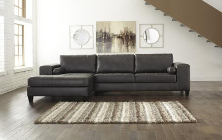 """Signature Design by Ashley Nokomis Collection 87701 134"""" Sectional Sofa with Arm Facing Corner Chaise and Arm Facing Queen Sofa Sleeper in Charcoal"""