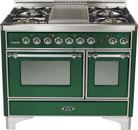 Ilve UMTD1006MPVS Majestic Techno Series Dual Fuel Freestanding Range with Sealed Burner Cooktop, 2.44 cu. ft. Primary Oven Capacity, Warming in Emerald Green