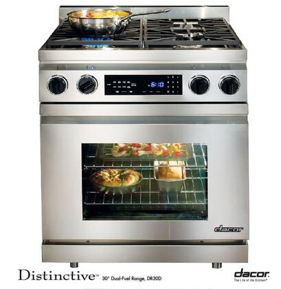 """Dacor Distinctive DR30 30"""" Freestanding Dual Fuel Range with 3.9 Cu. Ft. Convection Oven, 4 Sealed/Simmer Burners, Meat Probe and Touch Controls: Stainless Steel"""