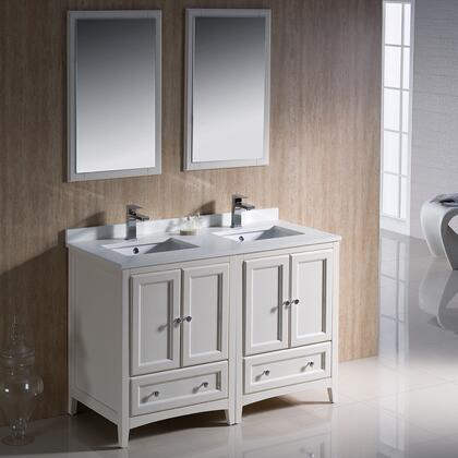 "Fresca Oxford Collection FVN20-2424 48"" Traditional Double Sink Bathroom Vanity with 4 Soft Close Doors, 2 Soft Close Dovetail Drawers and Tapered Legs in"