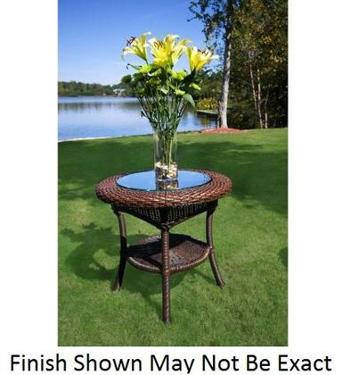 "Tortuga LEX-ST Sea Pines Side Table With Outdoor All Weather Wicker, Powder Coated Aluminum Frames, Heavy 1/4"" Clear Tempered Glass Table Top & In"