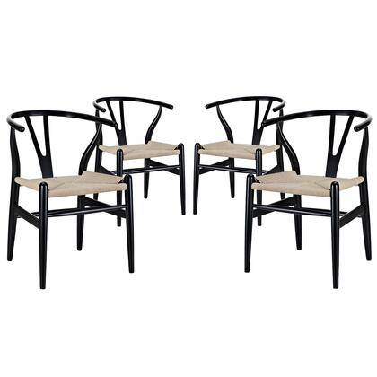 Modway EEI-1320 Amish Dining Armchair Set of 4 with Modern Design, Durable Paper Rope Seat, and Sturdy Beech Wood Frame Construction