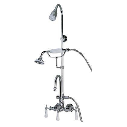 "Barclay 4023PL Converter Gooseneck Tub Filler with Riser, Diverter, Handheld Shower with Check Valve, Cradle, 59"" Hose, and 6"" Wall Support for Cast Iron Tubs:"
