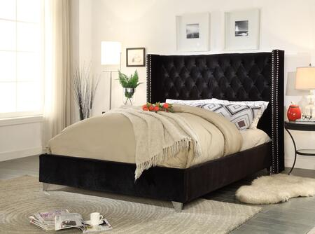 "Meridian Aiden Collection AIDEN-X-K 86"" King Size Bed with Velvet Upholstery, Chrome Nailheads, Wing Design and Contemporary Style in"