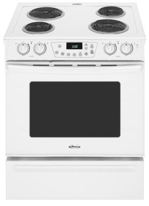 "Whirlpool RY160LXTQ 30"" Slide-in Electric Range with Coil Cooktop Storage 4.3 cu. ft. Primary Oven Capacity"