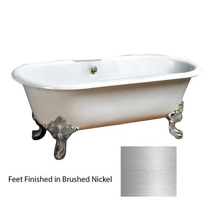 """Barclay CDRNTD68 Essex 68"""" Cast Iron Double Roll Tub, with Tap Deck Faucet Mount, White Tub Construction, 50 Gallon Capacity, 18"""" Tub Depth, and Imperial Feet in:"""
