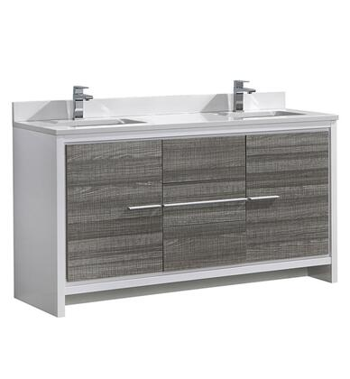 "Fresca FCB8119XXXCWHU Allier 60"" Modern Double Sink Bathroom Cabinet w/ Top & Sinks in"