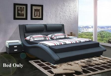 VIG Furniture VGRYBL9035-B Modrest Platform Bed with Wavy Design and Leatherette Upholstery in Black