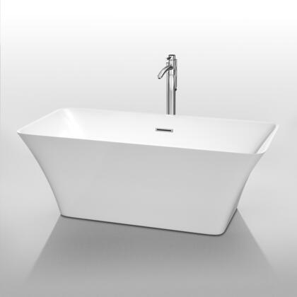 Wyndham Collection WC-BTK1504 Tiffany Soaking Bathtub, with Acrylic Construction, Modern Design, Adjustable Base, Pop-Up Drain, and Overflow, in White