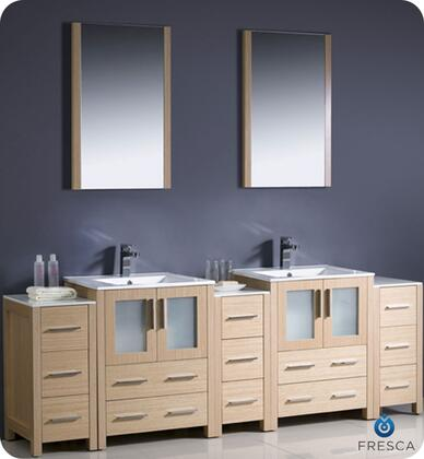 "Fresca Torino Collection FVN62-72XX-UNS 84"" Modern Double Sink Bathroom Vanity with 3 Side Cabinets, 2 Mirrors and 2 Integrated Sinks in"