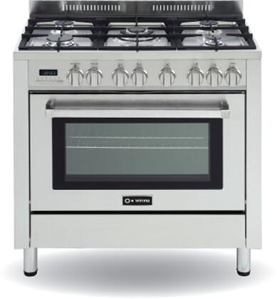 Verona VEFSGE365PSS  Dual Fuel Freestanding Range with Sealed Burner Cooktop, 3 cu. ft. Primary Oven Capacity, Warming in Stainless Steel