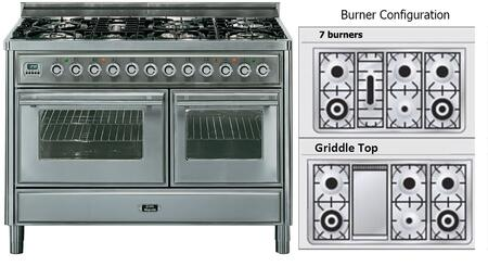 "Ilve UMT120FDMP 48"" Freestanding Dual Fuel Range with 7 Sealed Burners, 2 Convection Ovens, Griddle, 4.99 cu. ft. Total Capacity, Digital Clock and Timer, Flame Failure Safety Device, and Warming Drawer"